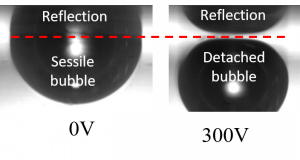 A detatching bubble and its reflection