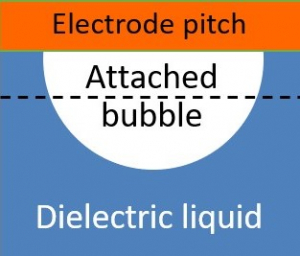 Schematic illustration of an attached bubble